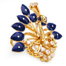 6.40 Grams White Cubic Zirconia & Violet Glass with Black & White Enamel Gold Plated Brass Peacock Shape Brooch