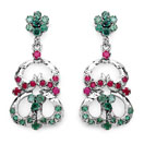 """8.80 Grams Genuine Blue Sapphire, Ruby & Emerald Rhodium Plated Brass Earrings"""