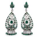 14.20 Grams Genuine Emerald Rhodium Plated Brass Earrings