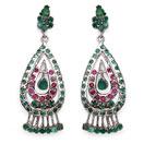 13.93 Grams Genuine Emerald & Ruby Rhodium Plated Brass Earrings