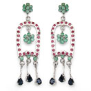 """12.60 Grams Genuine Emerald, Ruby & Blue Sapphire Rhodium Plated Brass Earrings"""