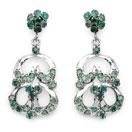 9.20 Grams Genuine Emerald Rhodium Plated Brass Earrings