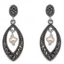 2.90 Grams Pearl & Marcasite .925 Sterling Silver Earrings