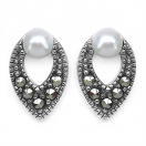 1.90 Grams Pearl & Marcasite .925 Sterling Silver Earrings