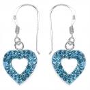 1.30 Grams Sky Blue Crystal .925 Sterling Silver Heart Shape Earrings