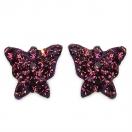 0.80 Grams Maroon Crystal .925 Sterling Silver Butterfly Shape Earrings