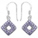 1.50 Grams Purple Crystal .925 Sterling Silver Earrings