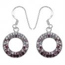 2.30 Grams Maroon & White Crystal .925 Sterling Silver Earrings