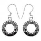 2.20 Grams Black & White Crystal .925 Sterling Silver Earrings