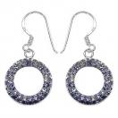 2.20 Grams Purple & White Crystal .925 Sterling Silver Earrings