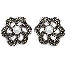 2.70 Grams Pearl & Marcasite .925 Sterling Silver Earrings