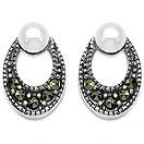 1.70 Grams Pearl & Marcasite .925 Sterling Silver Earrings