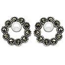 2.10 Grams Pearl & Marcasite .925 Sterling Silver Earrings