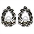 2.20 Grams Pearl & Marcasite .925 Sterling Silver Earrings