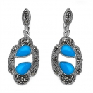 9.50 Grams Turquoise Color Onyx & Marcasite .925 Sterling Silver Earrings