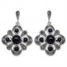 6.50 Grams Black Onyx & Marcasite .925 Sterling Silver Earrings
