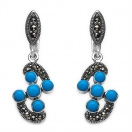 7.30 Grams Turquoise Color Onyx & Marcasite .925 Sterling Silver Earrings