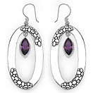 2.70CTW Genuine Amethyst .925 Sterling Silver Earrings