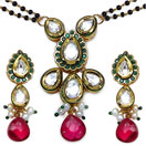 28.60 Grams Traditional Kundan Meena Worked Polki Gold Plated Mangalsutra Set With Emerald & Ruby