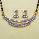 8.40 Grams White Cubic Zirconia Gold Plated Brass Mangalsutra Set