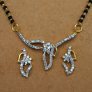 7.40 Grams White Cubic Zirconia Gold Plated Brass Mangalsutra Set
