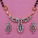 7.80 Grams White Cubic Zirconia Gold Plated Brass Mangalsutra Set