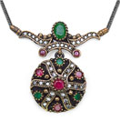 15.00 Grams Green Onyx & White Cubic Zircon Silver & Copper Black Rhodium Plated Turkish Necklace