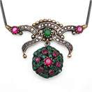 12.00 Grams Green Onyx & White Cubic Zircon Silver & Copper Black Rhodium Plated Turkish Necklace