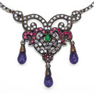 """19.00 Grams Green Onyx, Purple Onyx & White Cubic Zircon Silver & Copper Black Rhodium Plated Turkish Necklace"""