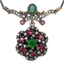 14.00 Grams Green Onyx & White Cubic Zircon Silver & Copper Black Rhodium Plated Turkish Necklace