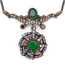 13.00 Grams Green Onyx & White Cubic Zircon Silver & Copper Black Rhodium Plated Turkish Necklace