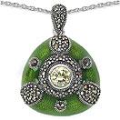 8.59 Grams Marcasite & Green Cubic Zircon .925 Sterling Silver Green Enamel Pendant