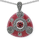 10.39 Grams Marcasite & Red Cubic Zircon .925 Sterling Silver Red Enamel Pendant