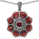 10.06 Grams Marcasite & Red Cubic Zircon .925 Sterling Silver Red Enamel Pendant