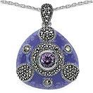 10.26 Grams Marcasite & Purple Cubic Zircon .925 Sterling Silver Purple Enamel Pendant