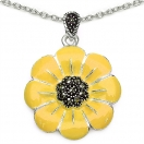 12.90 Grams Marcasite Brass Yellow Enamel Pendant