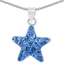 0.70 Grams Blue Crystal .925 Sterling Silver Star Shape Pendant