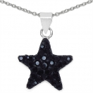 0.70 Grams Black Crystal .925 Sterling Silver Star Shape Pendant