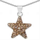 0.70 Grams Yellow Crystal .925 Sterling Silver Star Shape Pendant