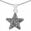 0.70 Grams Champagne Crystal .925 Sterling Silver Star Shape Pendant