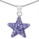 0.70 Grams Purple Crystal .925 Sterling Silver Star Shape Pendant