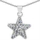 0.70 Grams White Crystal .925 Sterling Silver Star Shape Pendant