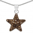 0.70 Grams Brown Crystal .925 Sterling Silver Star Shape Pendant