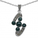 3.90 Grams Green Onyx & Marcasite .925 Sterling Silver Pendant