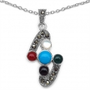 4.30 Grams Multicolor Onyx & Marcasite .925 Sterling Silver Pendant