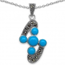 4.20 Grams Turquoise Color Onyx & Marcasite .925 Sterling Silver Pendant