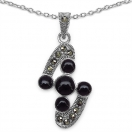 4.00 Grams Black Onyx & Marcasite .925 Sterling Silver Pendant