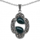 5.30 Grams Green Onyx & Marcasite .925 Sterling Silver Pendant