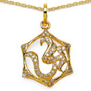 0.97CTW White Cubic Zirconia Brass Gold Plated Om Shape Pendant