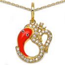 0.60CTW White Cubic Zirconia Brass Gold Plated Multicolor Enamel Lord Ganesha With Om Shape Pendant